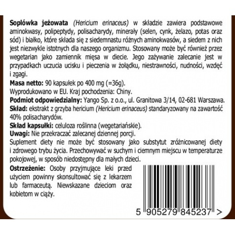 Hericium - 90 kapsułek Hericium Erinaceus, Soplówka jeżowata Warszawa Sklep