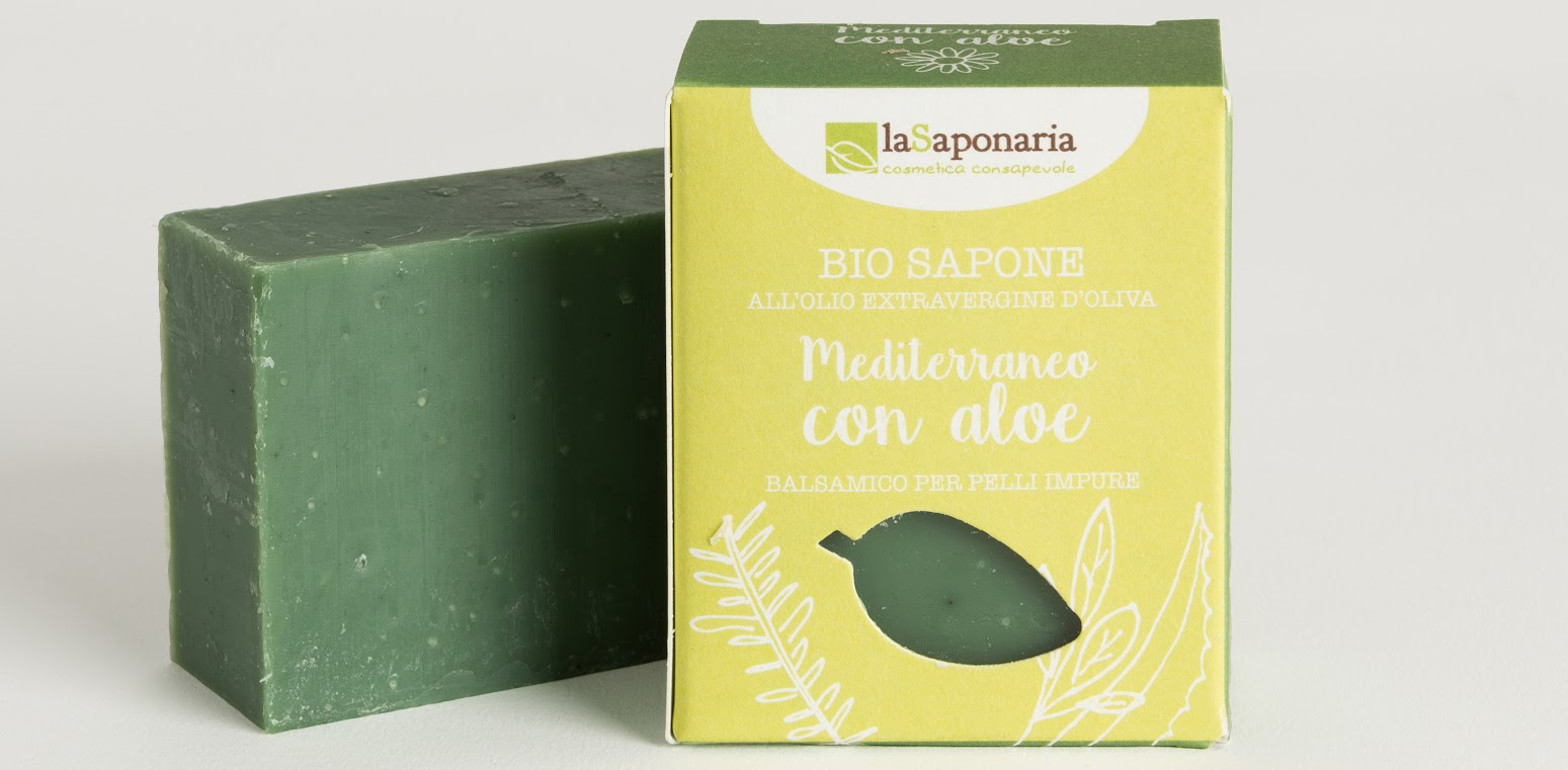 śródziemnomorskie naturalne mydło oczyszczające z eukaliptusem, aloesem, pokrzywą, szałwią