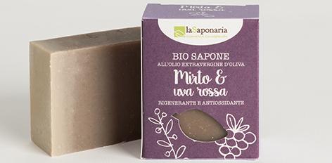 Naturalne mydło Mirt i Winogrona, regenerujące do skóry podrażnionej, wrażliwej
