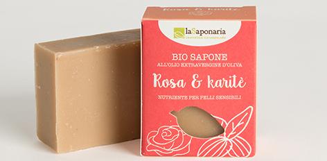 Naturalne mydło regenerujące Róża i masło shea, do skóry wrażliwej, delikatnej